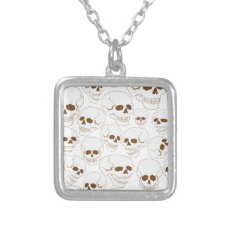 seamless pattern with skulls 3.2 silver plated necklace