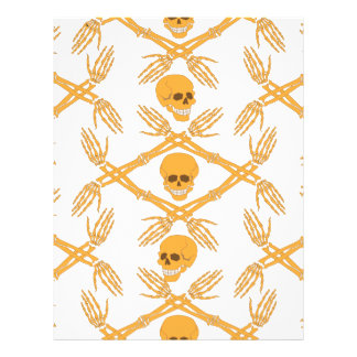 seamless pattern with skulls and bones of the hand letterhead design