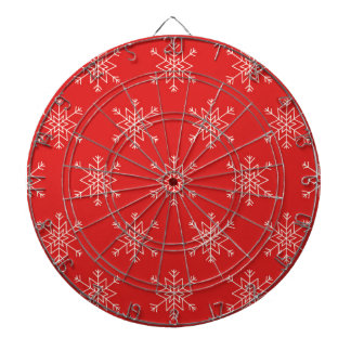 Seamless pattern with snowflakes. Red background. Dartboard