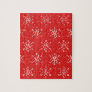 Seamless pattern with snowflakes. Red background. Jigsaw Puzzle