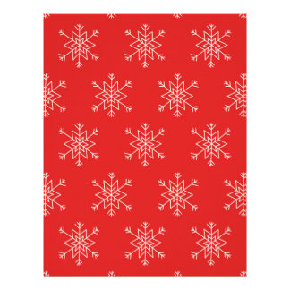 Seamless pattern with snowflakes. Red background. Letterhead