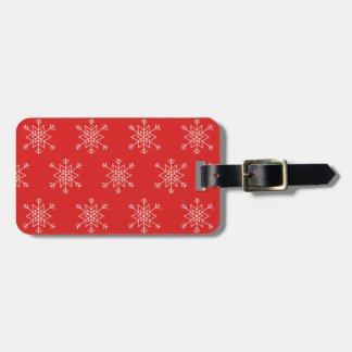 Seamless pattern with snowflakes. Red background. Luggage Tag