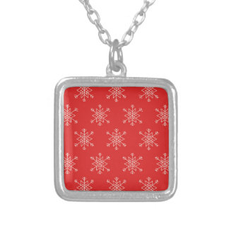 Seamless pattern with snowflakes. Red background. Silver Plated Necklace