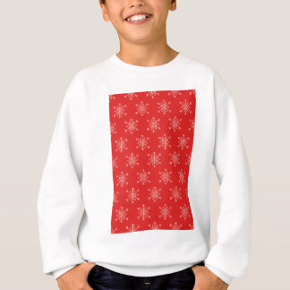 Seamless pattern with snowflakes. Red background. Sweatshirt
