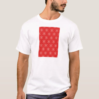 Seamless pattern with snowflakes. Red background. T-Shirt