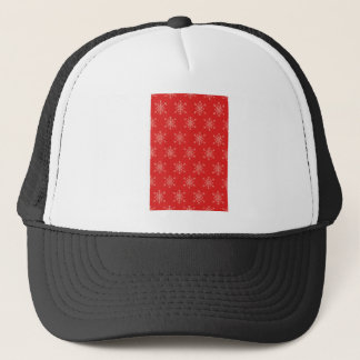 Seamless pattern with snowflakes. Red background. Trucker Hat