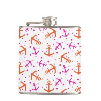 Seamless pink and orange anchor pattern. hip flask