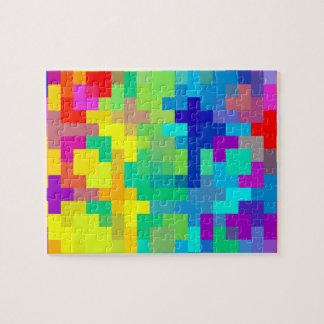 Seamless Pixel Background with Colorful Jigsaw Puzzle