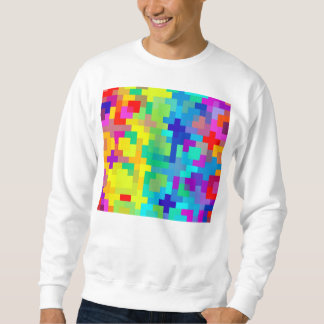 Seamless Pixel Background with Colorful Sweatshirt