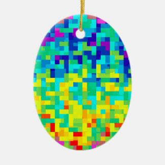 Seamless Pixel Pattern Background as an Artistic Ceramic Ornament