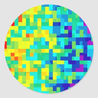 Seamless Pixel Pattern Background as an Artistic Classic Round Sticker