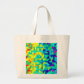 Seamless Pixel Pattern Background as an Artistic Large Tote Bag