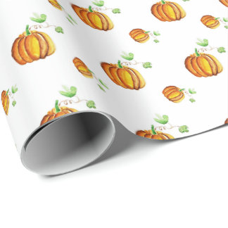 Seamless pumpkin pattern wrapping paper