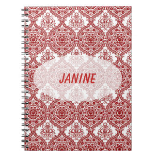 Seamless Red and White Vintage Pattern Notebook