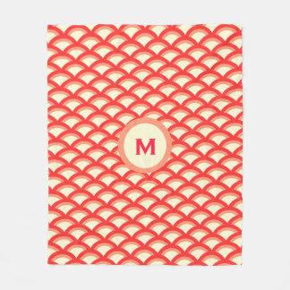 Seamless Red Circle Pattern Fleece Blanket