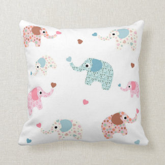 Seamless retro elephant kids pattern wallpaper throw pillow