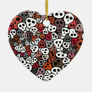 Seamless Skulls background Ceramic Heart Ornament