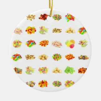 Seamless Sweets and Candy Pattern Background Ceramic Ornament