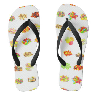 Seamless Sweets and Candy Pattern Background Flip Flops