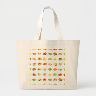 Seamless Sweets and Candy Pattern Background Large Tote Bag