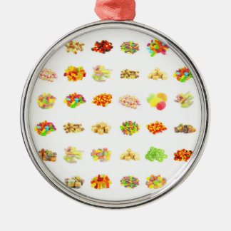 Seamless Sweets and Candy Pattern Background Metal Ornament