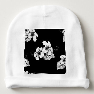 Seamless Tropical Hibiscus Flowers Background Baby Beanie