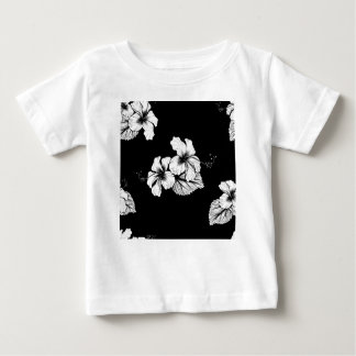 Seamless Tropical Hibiscus Flowers Background Baby T-Shirt