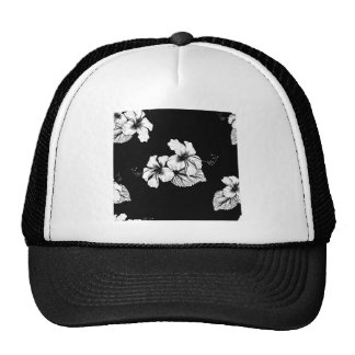 Seamless Tropical Hibiscus Flowers Background Trucker Hat