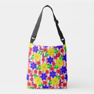 Seamless Vector floral background and butterflies Crossbody Bag
