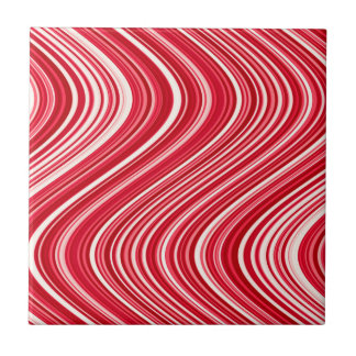 Seamless Wavy Lines in Red and White Tile