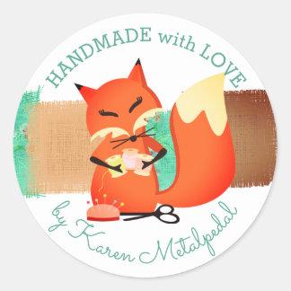 Seamstress fox sewing handmade with love sticker