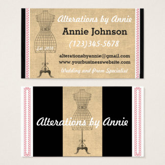 Seamstress Sewing Alterations Dress Business Card