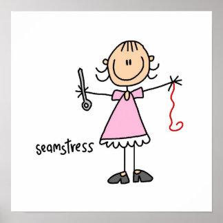 Seamstress Stick Figure Poster