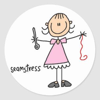 Seamstress Stick Figure Sticker