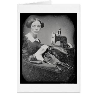 Seamstress Working Daguerreotype 1853 Card