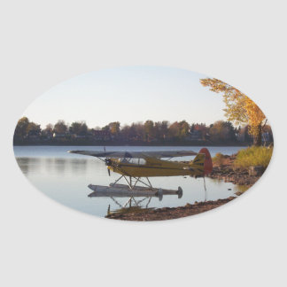 Seaplane by the Lake Oval Sticker