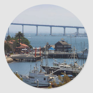 Seaport Village And Coronado Seen From The Deck Of Classic Round Sticker