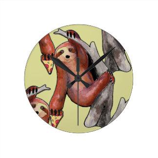 seapunk vaporwave grunge kawaii cute sloth pizza round clock