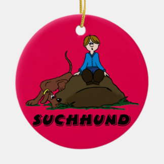 Search dog ceramic ornament