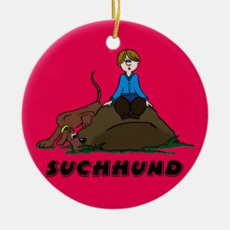 Search dog round ceramic ornament