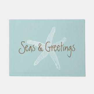 Seas and Greetings Beach Blue Starfish Doormat