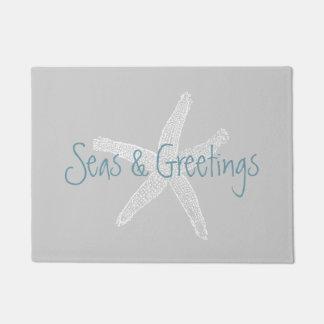 Seas and Greetings Beach Starfish Grey Doormat