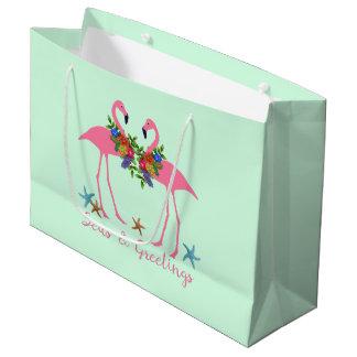 Seas and Greetings Flamingo Couple Christmas Mint Large Gift Bag