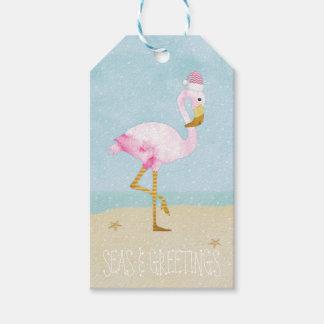 Seas and Greetings Watercolor Pink Flamingo Gift Tags