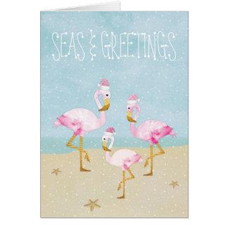 Seas and Greetings Watercolor Pink Flamingos Card