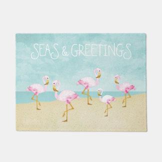 Seas and Greetings Watercolor Pink Flamingos Doormat