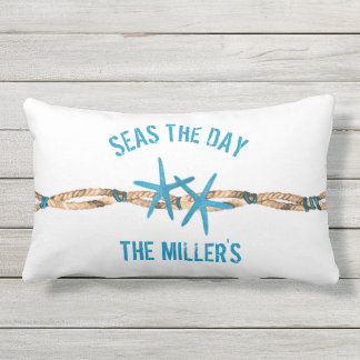 Seas the Day Aqua Starfish Outdoor Pillow