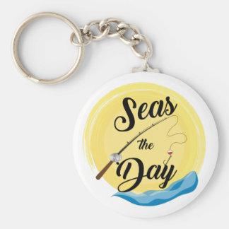 Seas The Day Basic Round Button Keychain
