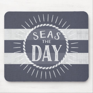 Seas the Day Big Stripes in Denim Blue Mouse Pad