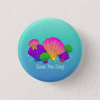 Seas the Day! Caribbean Seashells with Bubbles 1 Inch Round Button